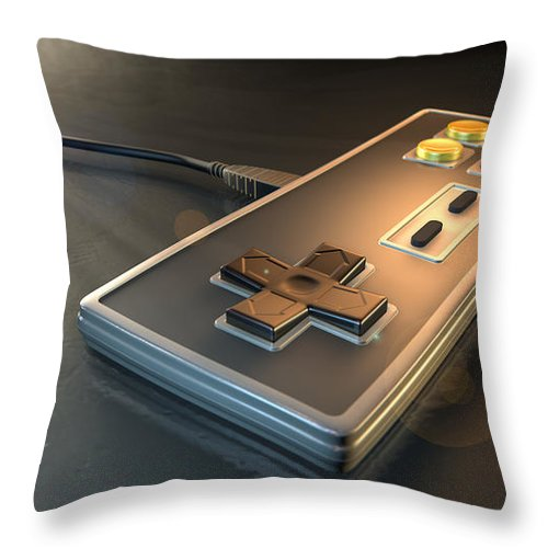 Controller Throw Pillow featuring the digital art Vintage Gaming Controller by Allan Swart