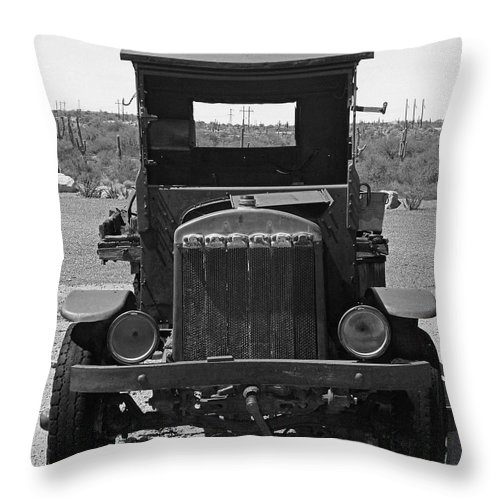 Vintage Car Throw Pillow featuring the photograph Vintage Stare Down by Kelly Holm
