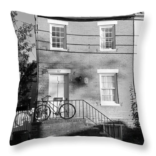 Buildings Throw Pillow featuring the photograph Waiting For A Rider by Mary Haber