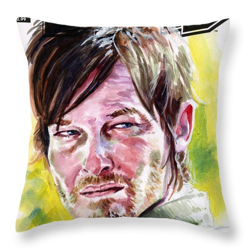 Walking Dead Throw Pillow featuring the painting Walking Dead Daryl by Ken Meyer jr