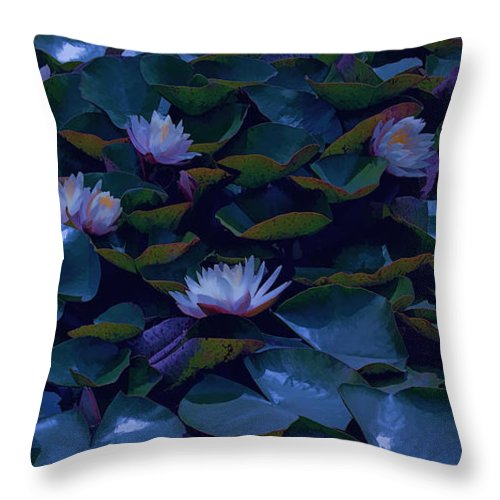 Water Lilies Throw Pillow featuring the photograph Water Lilies by Bonnie Bruno