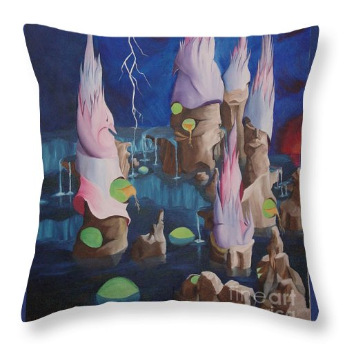 Surrealism Throw Pillow featuring the painting Water World by Richard Dotson