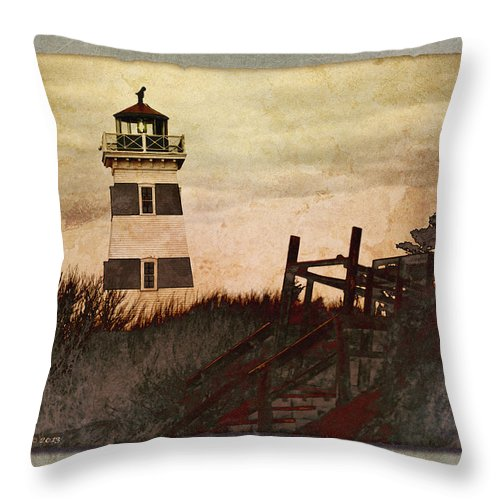 Lighthouse Throw Pillow featuring the photograph West Point Lighthouse by WB Johnston