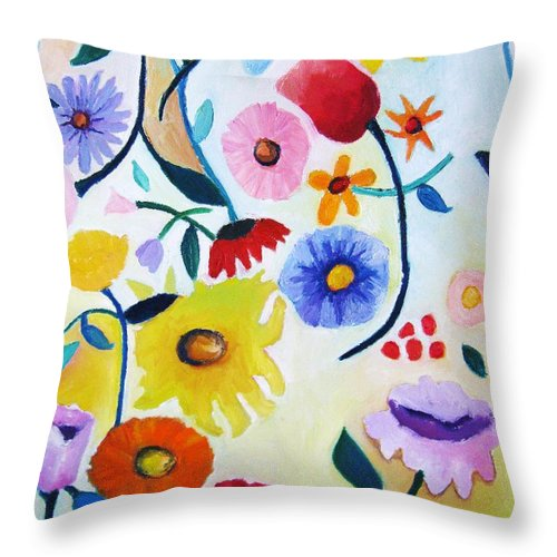 Wildflowers Throw Pillow featuring the painting Wildflowers by Venus