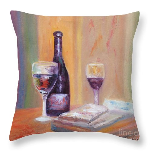 Wine Art Throw Pillow featuring the painting Wine And Blue Cheese by Carolyn Jarvis