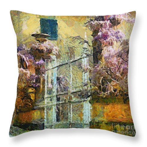 Landscapes Throw Pillow featuring the painting Wisteria by Dragica Micki Fortuna