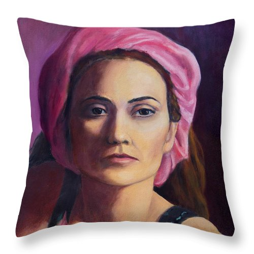 Portrait Throw Pillow featuring the painting Woman In A Pink Turban by Keith Burgess