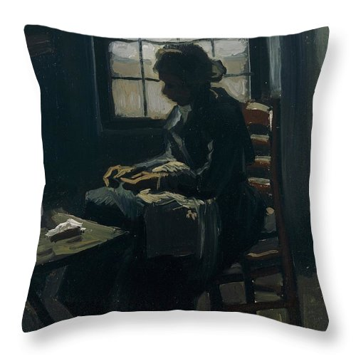 1885 Throw Pillow featuring the painting Woman Sewing by Vincent van Gogh