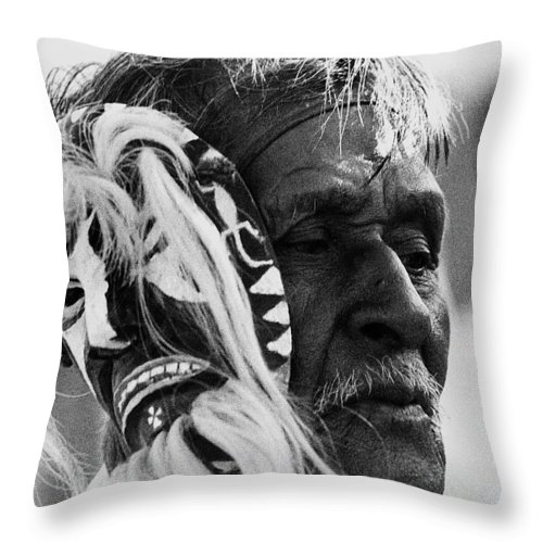 Yaqui Pascola Dancer New Pascua Tucson Arizona 1969 Throw Pillow featuring the photograph Yaqui Pascola Dancer New Pascua Tucson Arizona 1969 by David Lee Guss
