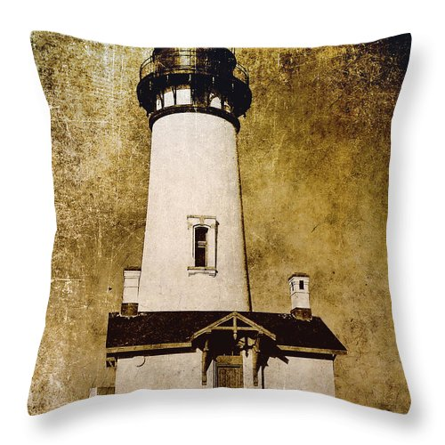 yaquina Lighthouse Throw Pillow featuring the photograph Yaquina Head Lighthouse - Oregon by Daniel Hagerman