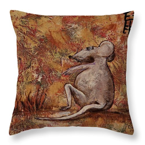 Animal Throw Pillow featuring the painting Year Of The Rat by Darice Machel McGuire