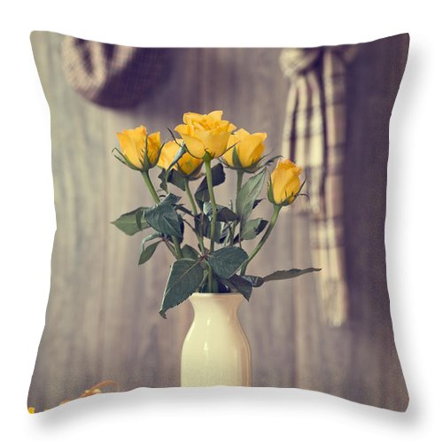 Vase Throw Pillow featuring the photograph Yellow Roses by Amanda Elwell