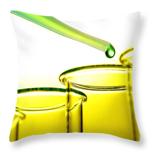 Test Throw Pillow featuring the photograph Laboratory Experiment In Science Research Lab by Science Research Lab By Olivier Le Queinec