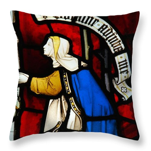 Church Throw Pillow featuring the photograph Religious Stained Glass Window by Luis Alvarenga