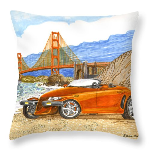 2002 Plymouth Prowler Sexy & Tight Seamed Sports Car Throw Pillow featuring the painting 2002 Plymouth Prowler by Jack Pumphrey