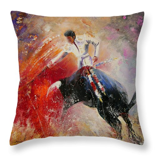 Animals Throw Pillow featuring the painting 2010 Toro Acrylics 05 by Miki De Goodaboom
