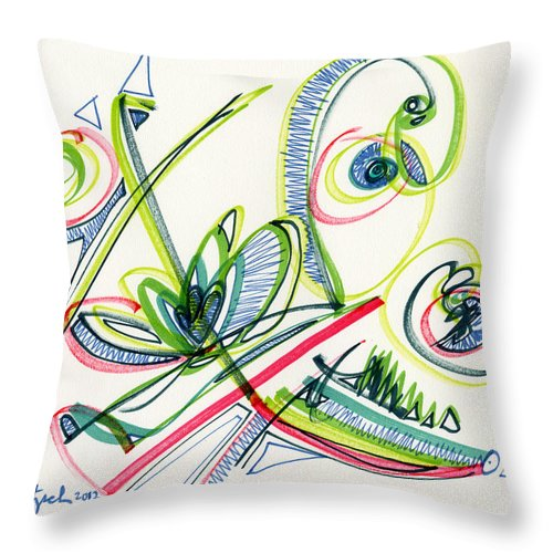 Abstract Throw Pillow featuring the drawing 2012 Drawing #36 by Lynne Taetzsch