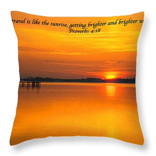 Canvas Throw Pillow featuring the photograph 2014 02 25 03 Proverbs 4 18 by Mark Olshefski