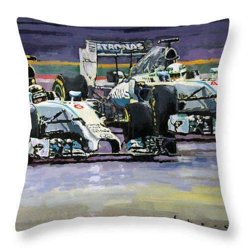 Acrilic Throw Pillow featuring the painting 2014 F1 Mercedes Amg Petronas Lewis Hamilton Vs Nico Rosberg by Yuriy Shevchuk