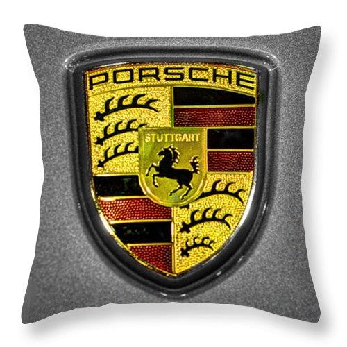 2014 Porsche 911 Carrera S Throw Pillow featuring the photograph 2014 Porsche Cayman S Logo by John Straton