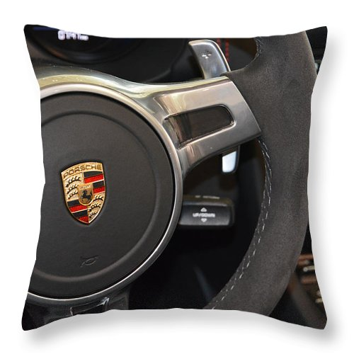 2015 Throw Pillow featuring the photograph 2015 Porche Boxster Gts Wheel by Mike Martin