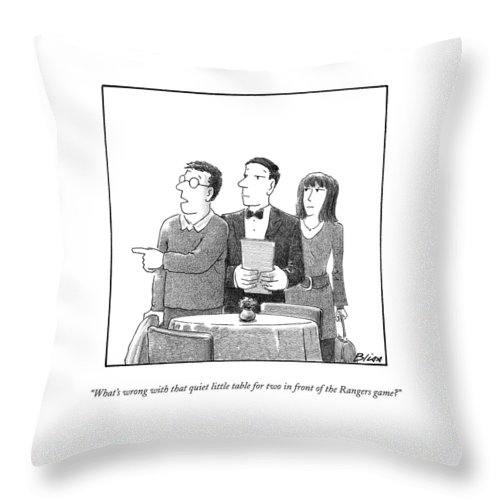 Restaurants Throw Pillow featuring the drawing What's Wrong With That Quiet Little Table For Two by Harry Bliss