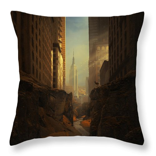 City Ruins Apocalypse Buildings Sun Animal Sunbeams Abandoned Ny Landscape Photomontage Rocks Loneliness Creek Walls Birds Sciencefiction Fantasy Newyork Warm Shadows Nature Architecture Photomontage Photomanipulation Throw Pillow featuring the photograph 2146 by Michal Karcz