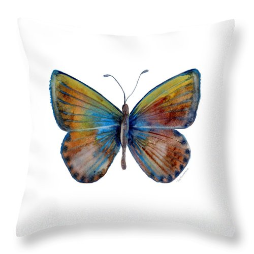 Clue Throw Pillow featuring the painting 22 Clue Butterfly by Amy Kirkpatrick