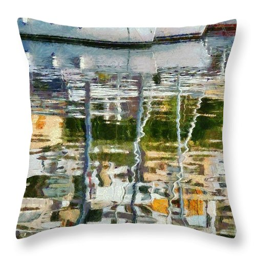 Mikrolimano Throw Pillow featuring the painting Reflections In Mikrolimano Port by George Atsametakis