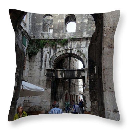 Split Croatia Throw Pillow featuring the photograph Views Of Split Croatia by Richard Rosenshein