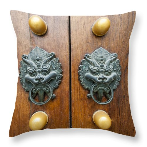 Asia Throw Pillow featuring the photograph 2227-door by David Lange