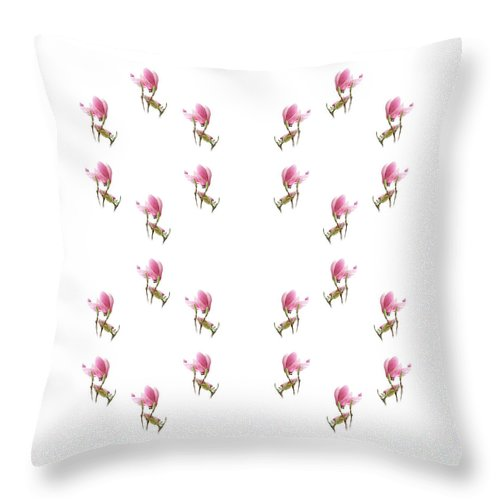 Andee Design Magnolia Throw Pillow featuring the photograph 24 Dancing Pink Magnolias Square by Andee Design
