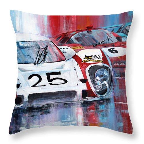 Acrilic On Canvas Throw Pillow featuring the painting 1970 Porsche 917 Lh Le Mans Elford Kurt Ahrens by Yuriy Shevchuk