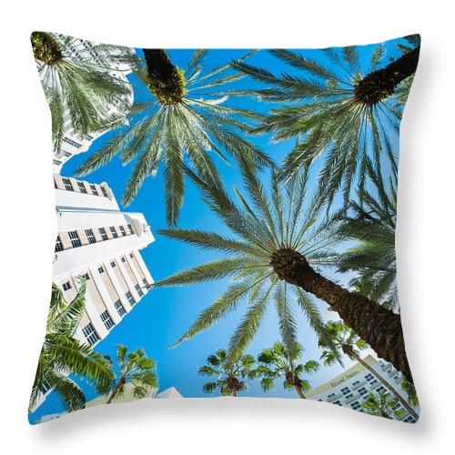 Architecture Throw Pillow featuring the photograph Miami Beach by Raul Rodriguez