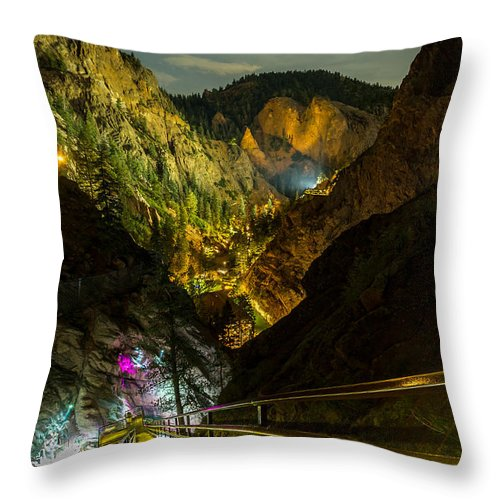 Seven Falls Throw Pillow featuring the photograph 244 Steps Above by Jeff Stoddart