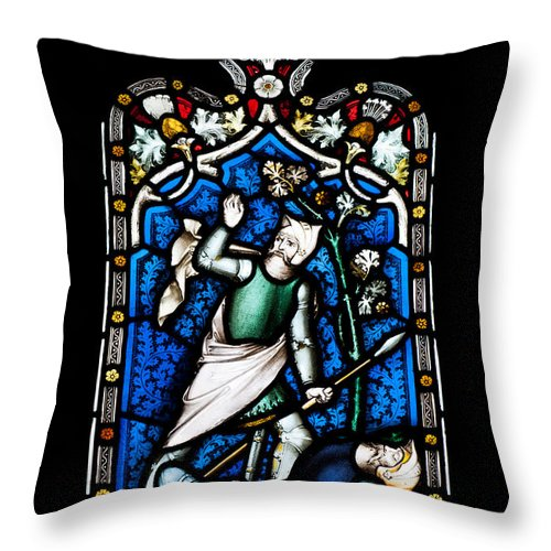 Glass Throw Pillow featuring the photograph Religious Stained Glass Window by Luis Alvarenga