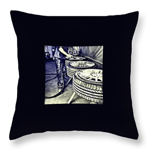 Monochromatic Throw Pillow featuring the photograph Man at Work by J Roustie