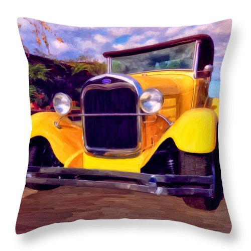 Resto Mod Throw Pillow featuring the painting '28 Ford Pick Up by Michael Pickett