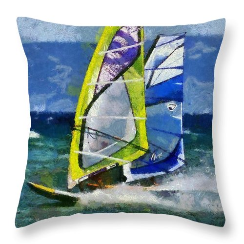 Windsurfing Throw Pillow featuring the painting Windsurfing by George Atsametakis