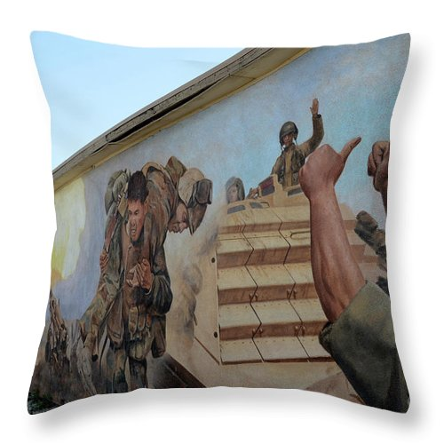 Mural Throw Pillow featuring the photograph 29 Palms Mural 4 by Bob Christopher