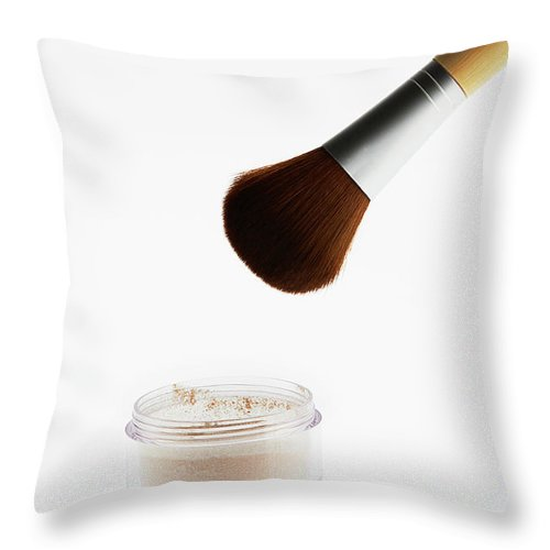 White Background Throw Pillow featuring the photograph Still Life Of Beauty Products by Stephen Smith
