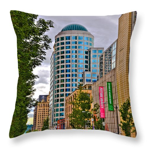 Seattle Throw Pillow featuring the photograph 2nd Avenue - Seattle Washington by David Patterson