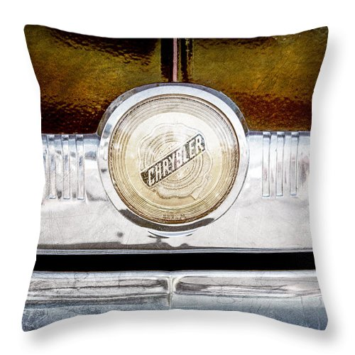 1949 Chrysler Windsor Grille Emblem Throw Pillow featuring the photograph 1949 Chrysler Windsor Grille Emblem by Jill Reger