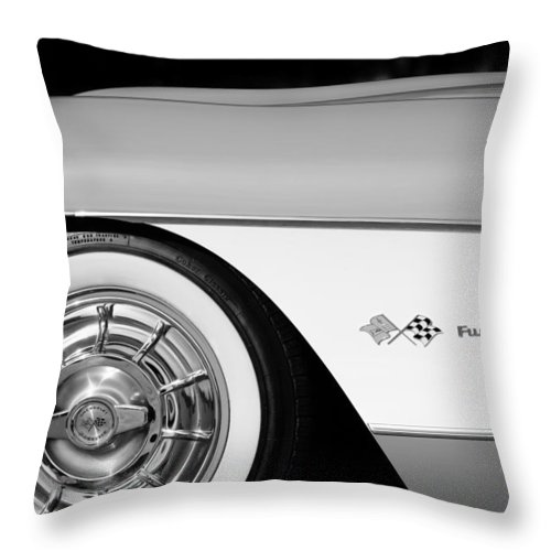 1957 Chevrolet Corvette Wheel Emblem Throw Pillow featuring the photograph 1957 Chevrolet Corvette Wheel Emblem by Jill Reger