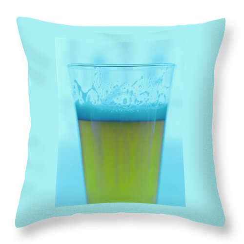 Beverage Throw Pillow featuring the photograph A Glass Of Beer by Romulo Yanes