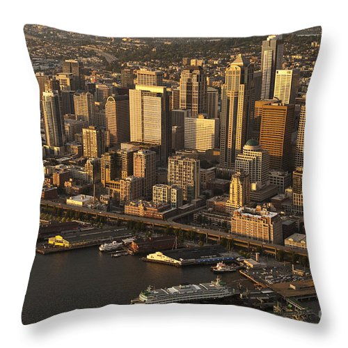 Elliott Bay Throw Pillow featuring the photograph Aerial View Of Seattle Skyline Along Waterfront by Jim Corwin