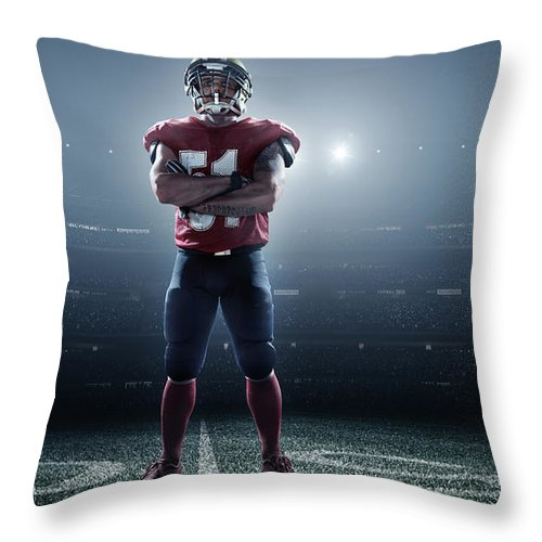 Soccer Uniform Throw Pillow featuring the photograph American Football In Action by Dmytro Aksonov