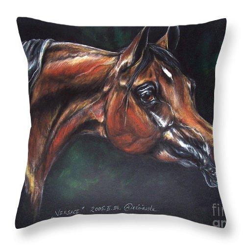 Horse Throw Pillow featuring the pastel Arabian Horse by Angel Ciesniarska