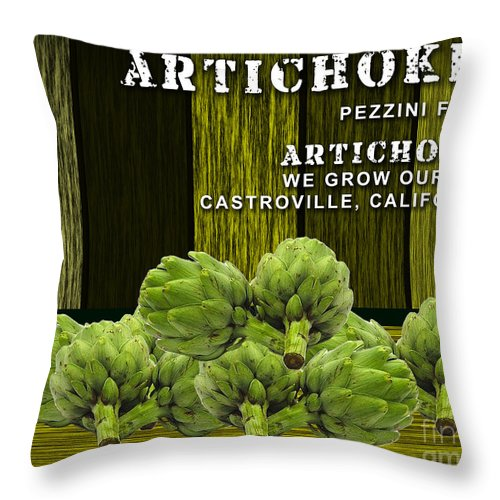 Artichokes Mixed Media Mixed Media Mixed Media Throw Pillow featuring the mixed media Artichokes Farm by Marvin Blaine