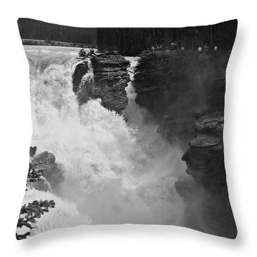 Bw Throw Pillow featuring the photograph Athabasca Falls by RicardMN Photography